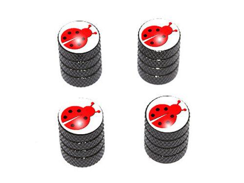 Lady Bug Tire Rim Valve Stem Caps Black Ladybug