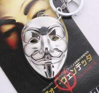 DZ1260 V for Vendetta Keychain Guy Fawkes Mask Silver Pendant Jewelry Keyrings ♫