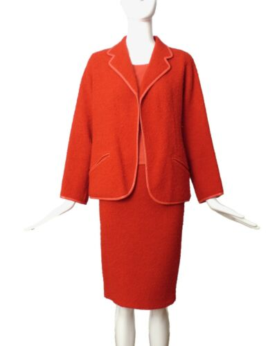 BONNIE CASHIN-1960s Orange Boucle 3pc Suit, Size-6 - image 1