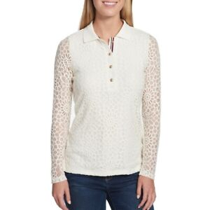 TOMMY-HILFIGER-NEW-Women-039-s-Long-Sleeve-Lace-Polo-Shirt-Top-TEDO