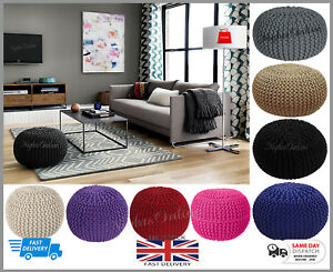 LARGE-KNITTED-POUFFE-CHUNKY-KNIT-FOOT-STOOL-CUSHION-MOROCCAN-100-COTTON