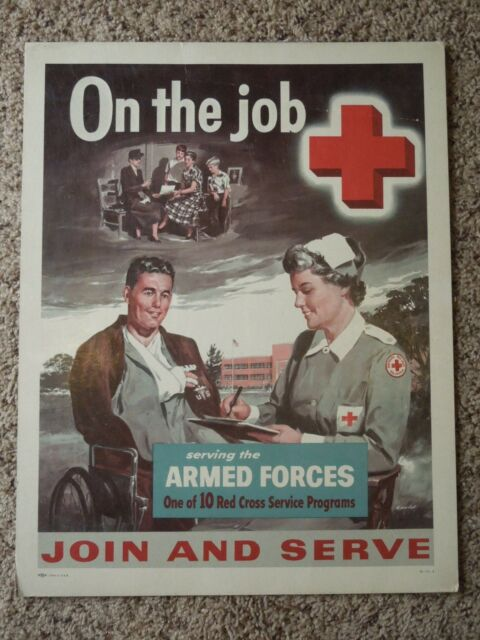 Vintage Red Cross Armed Forces Service Poster Litho Print Wax Sealed Unsigned