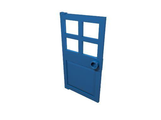 4 x [neu] LEGO Tür 1 x 4 x 6 mit 4 Fenstern - blau - 60623