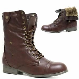 LADIES-WOMENS-COMBAT-ARMY-MILITARY-BIKER-FLAT-LACE-UP-WORKER-WINTER-FUR-BOOTS