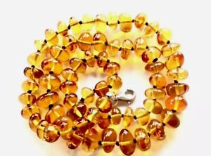 """Vintage Hand Knotted Sterling Silver Honey Amber Graduating Bead 19"""" Necklace"""