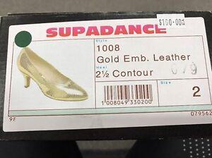 b9c10643e9c Supadance Ballroom 1008 Gold Embellished Leather 2 1 2 Contour Heel ...