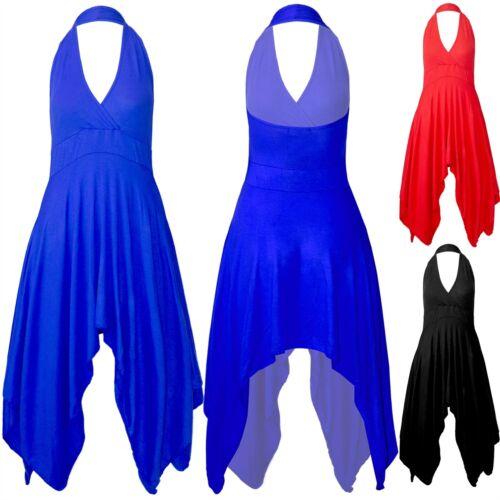 Womens V Plunge Hanky Hem Flared Halter Neck Ladies Backless Swing Midi Dresses