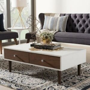 Details about Wood Coffee Table Best Small White Contemporary Living Room  Storage MidCentury