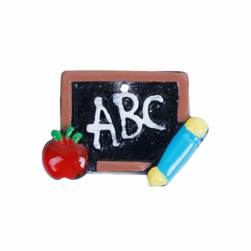 5 RESIN ABC CHALK BLACKBOARD APPLE TEACHER CHARM//PENDANT~29mm~Keyring~Cord 83H
