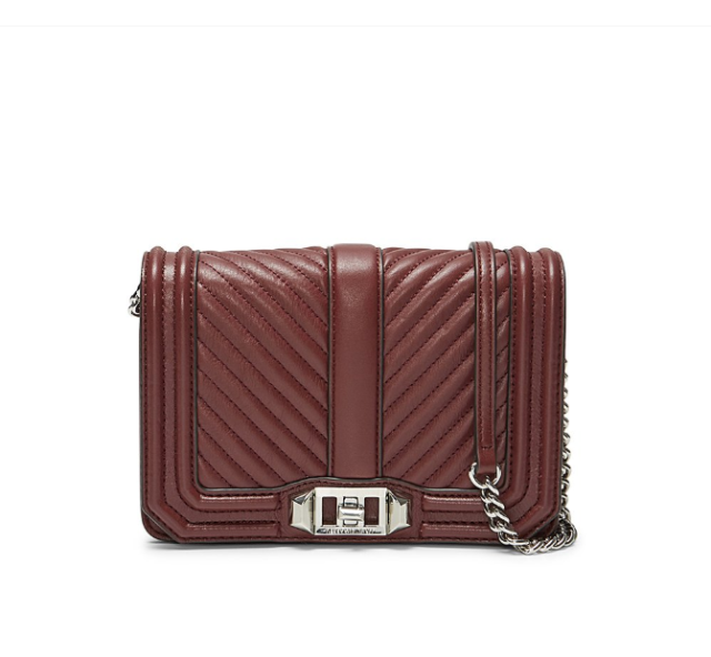 aab5ba4e0 NEW Rebecca Minkoff CHEVRON Quilted Small LOVE Crossbody BAG Bordeaux RED  $200+