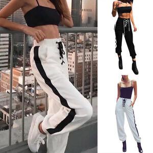 Eg-Donna-Sport-Pantaloni-Stile-Casual-con-Lacci-Vita-Alta-Tinta-Unita-Tuta
