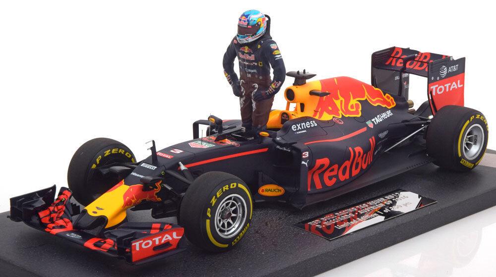 Minichamps rosso Bull Tag Heuer RB12 Gp Austria 2016 Ricciardo con Figurita 1 18