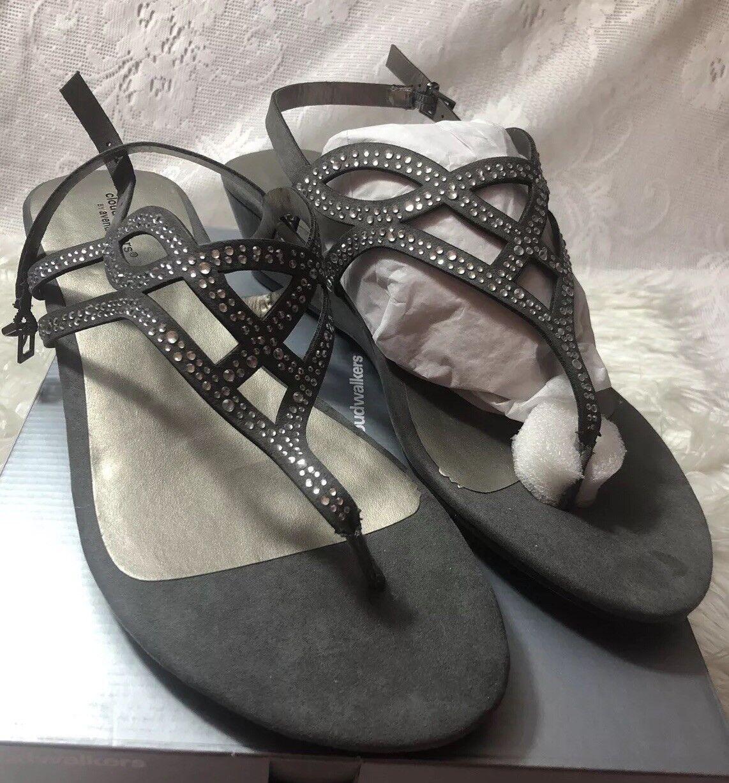 Cloudwalker Ladies Pewter Rhinestones Strap Sandals Size 12 Wide New  (Nell )
