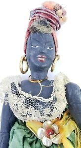 Antique-or-Vintage-unusual-Wood-Jamaican-Doll-Jamaica-w-Breasts