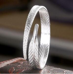 Women-925-Sterling-Silver-Fashion-Charm-Open-Cuff-Bangle-Bracelet-Jewelry-New
