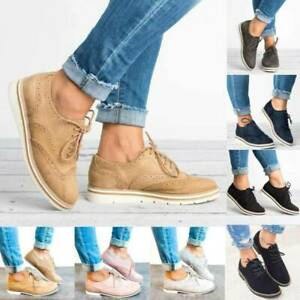 Womens-Flat-Heels-Lace-Up-Brogues-Casual-Smart-Oxfords-Loafers-Pumps-Shoes-Sizes