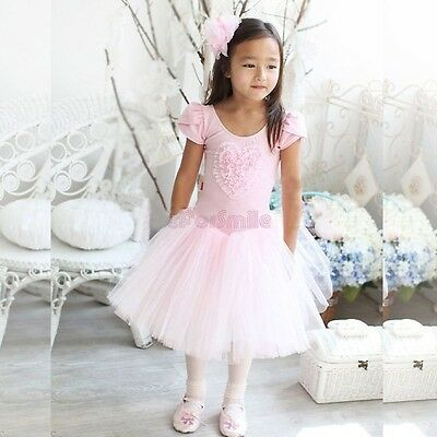 Girls Pink Ballet Dance Dress Tulle Tutu Skirt 3 4 5 6 7Years Leotard Dancewear