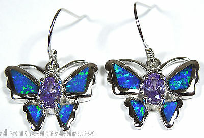 Amethyst and Blue Fire Opal Inlay Solid 925 Sterling Silver Butterfly Earrings