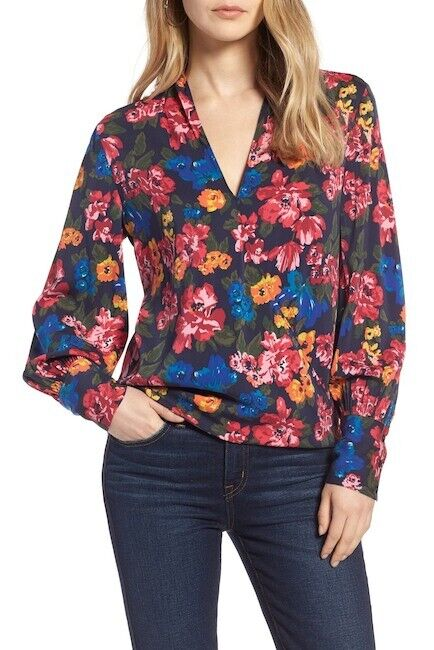 Halogen Silk Blend Floral Wrap Blouse, XL Petite, Retail   NWT