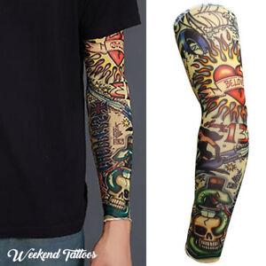 24ec71c79 Heart Skull Snake Halloween Long Cover Fake Full Arm Leg UV Sleeve ...