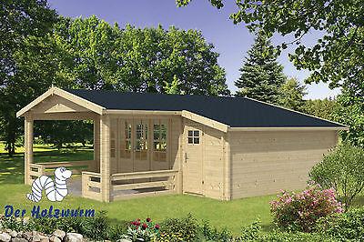Gartenhaus Liverpool Blockhaus 694x763cm Holzhaus 58mm Anbauschuppen Terrasse