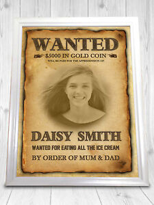 Wanted poster personalised wild west weddings birthdays work funny a4 ebay - Wild west funny ...
