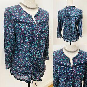 Ladies-GAP-Boho-Blouse-Shirt-Top-Floral-Red-Blue-Large-Cotton-22-Chest-Tunic