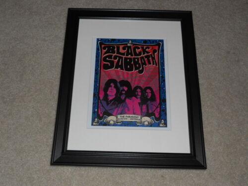 "Framed Black Sabbath 1970 Tour Mini-Poster, Ozzy Osbourne, Amsterdam 14""x17"""