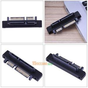 90-Gewinkelt-SATA-22-7-15-Pin-Stecker-Zu-Buchse-Verlaengerungskabel-Adapter-Top