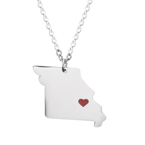 We Heart Missouri Personalize Map Necklace Inspiration Memorial Jewelry MO