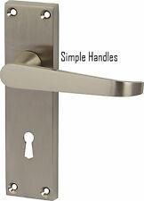 Victorian Satin brushed Chrome Lever Scroll Lock key hole Door Handles