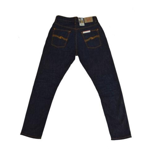 Blau Used Neu Nudie Brute Knut 112489 Crinkle Blues Organic Cotton Jeans