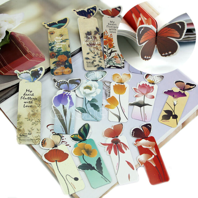 Cartoon Butterfly Book Marks Paper Clip Office School Bookmarks Gift New