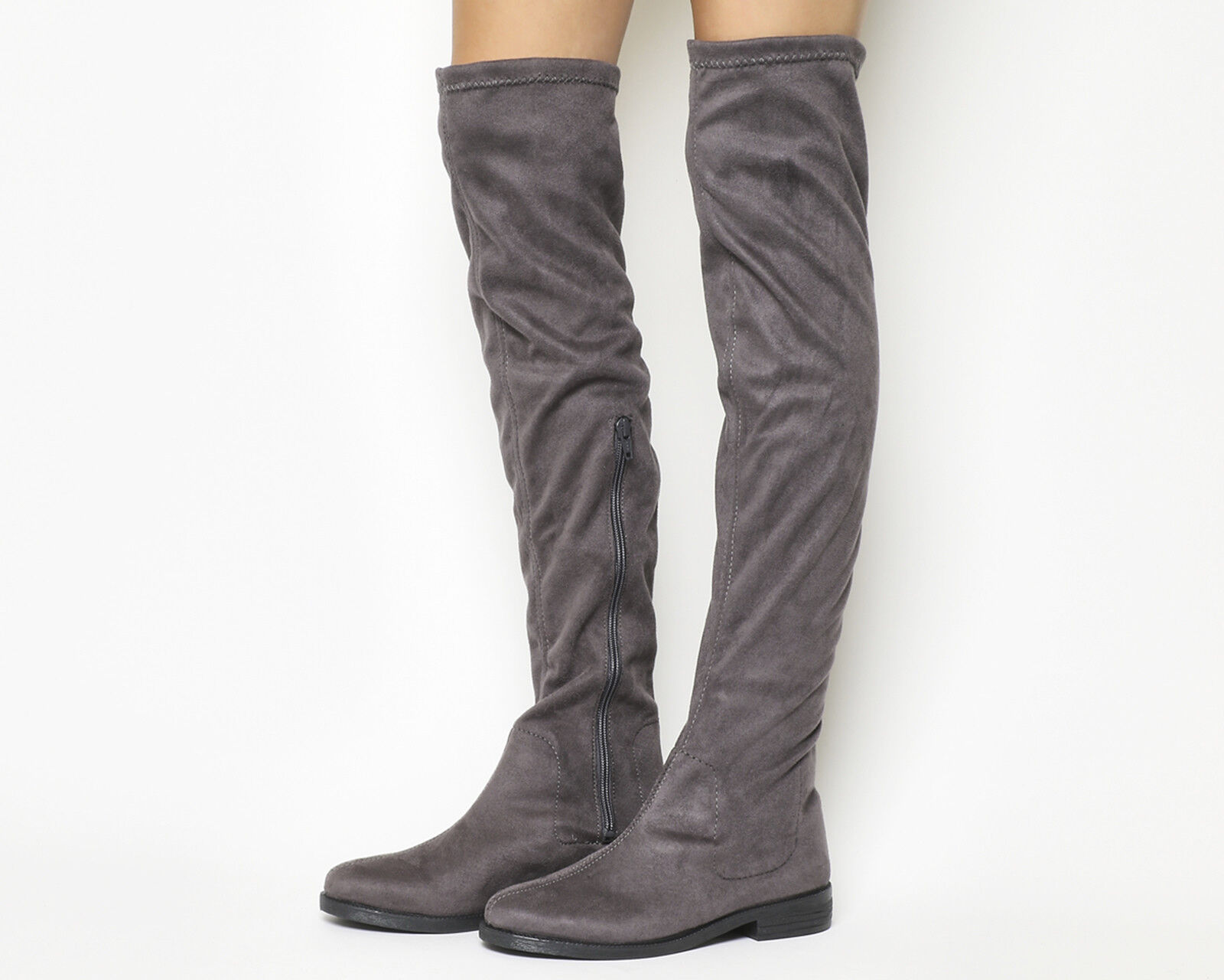 Damenschuhe Office Kung Fu Over The Knee Stiefel GREY Stiefel
