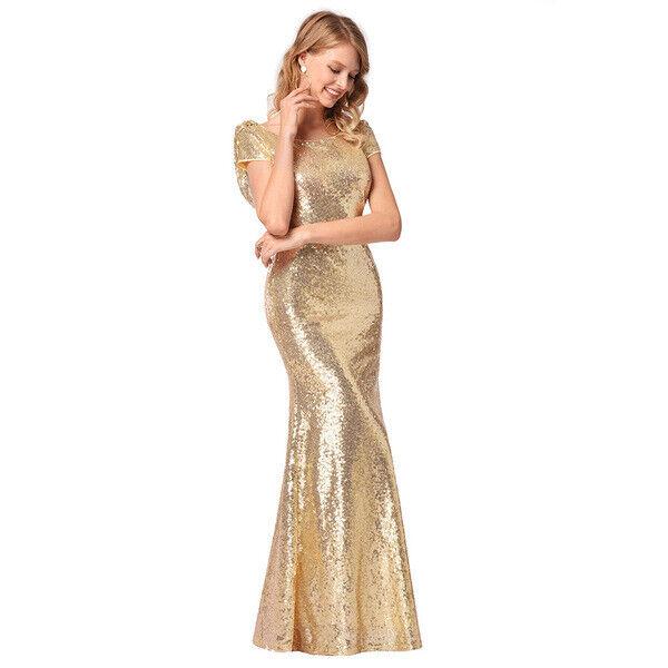 Élégant kleid kleid frau lang Gold strass event abend hülle komfortabel 4325
