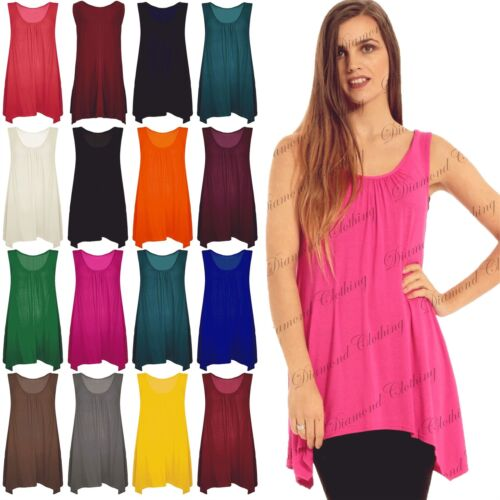 Womens Sleeveless Ruched Baggy Basic Plain Ladies Swing Flared Dress Long Top