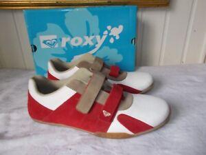 Détails sur Chaussures BASKET à scratch cuir blanc daim rouge ROXY BEANNIE 39 8US 6UK