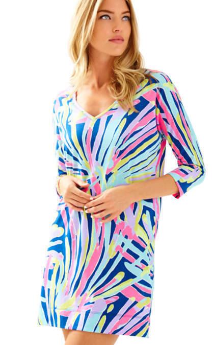 NWT Lilly Pulitzer Cori Indigo Sea Dreamin Dolman Sleeves Pima Cotton Dress M