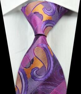 Hot-Classic-Paisley-Purple-Gold-JACQUARD-WOVEN-100-Silk-Men-039-s-Tie-Necktie