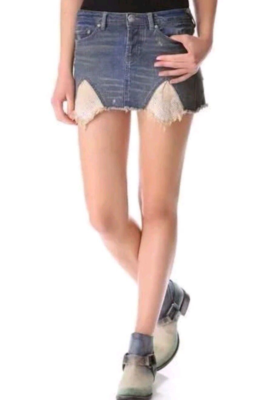NWT FREE PEOPLE  Tire Swing Denim Jean Button Fly Mini Skirt Sz 6 Retail 98.00