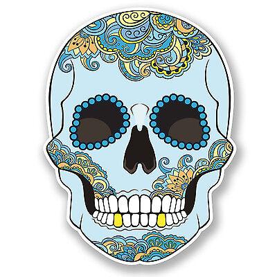 2 x 10cm Sugar Skull Vinyl Sticker Decal Laptop Car Bike Helmet Girls Gift #6228