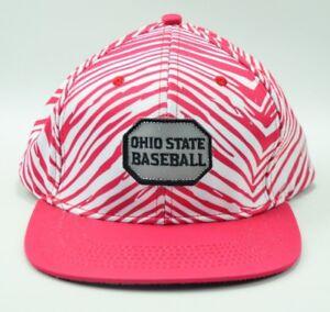 Ohio State Buckeyes Baseball Cap Hat Red White Zebra Stripe