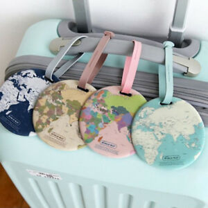 Round World Map Luggage Tag Travel Airplane Bag Suitcase Name ID ...