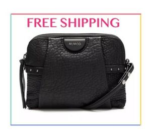 AUTH-MIMCO-LOCO-MOTIVE-PEBBLE-SHEEP-LEATHER-HIP-BAG-CROSSBODY-BLACK-PPR349