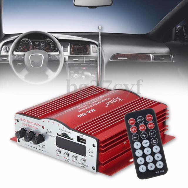 4*41W 4 Channel HiFi Audio Stereo Amplifier Subwoofer Car MP3 Speaker USB SD FM
