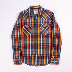 Levis-Mens-Long-Sleeve-Pearl-Snap-Checker-Vintage-Button-Up-Shirt-Size-Medium