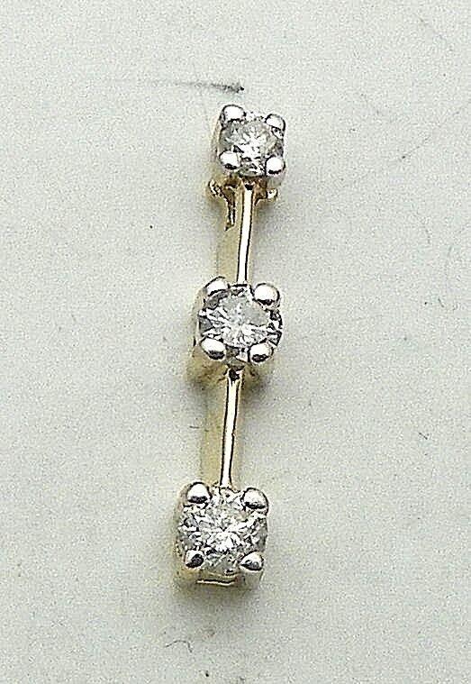 1 4 ct DIAMOND THREE-STONE PENDANT SOLID 14 k gold 0.9 g