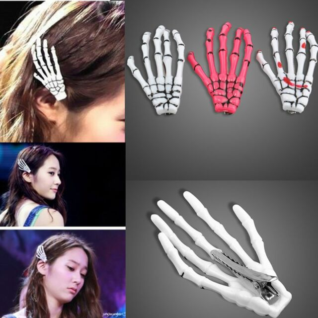 2PCS Zombie Skull Skeleton Hand Bone Claw Hairpins Hair Clips Halloween Gift