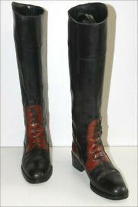PIETRO-DI-ROMA-Bottes-Vintage-Cavalieres-Tout-cuir-Bicolore-T-36-5-TBE
