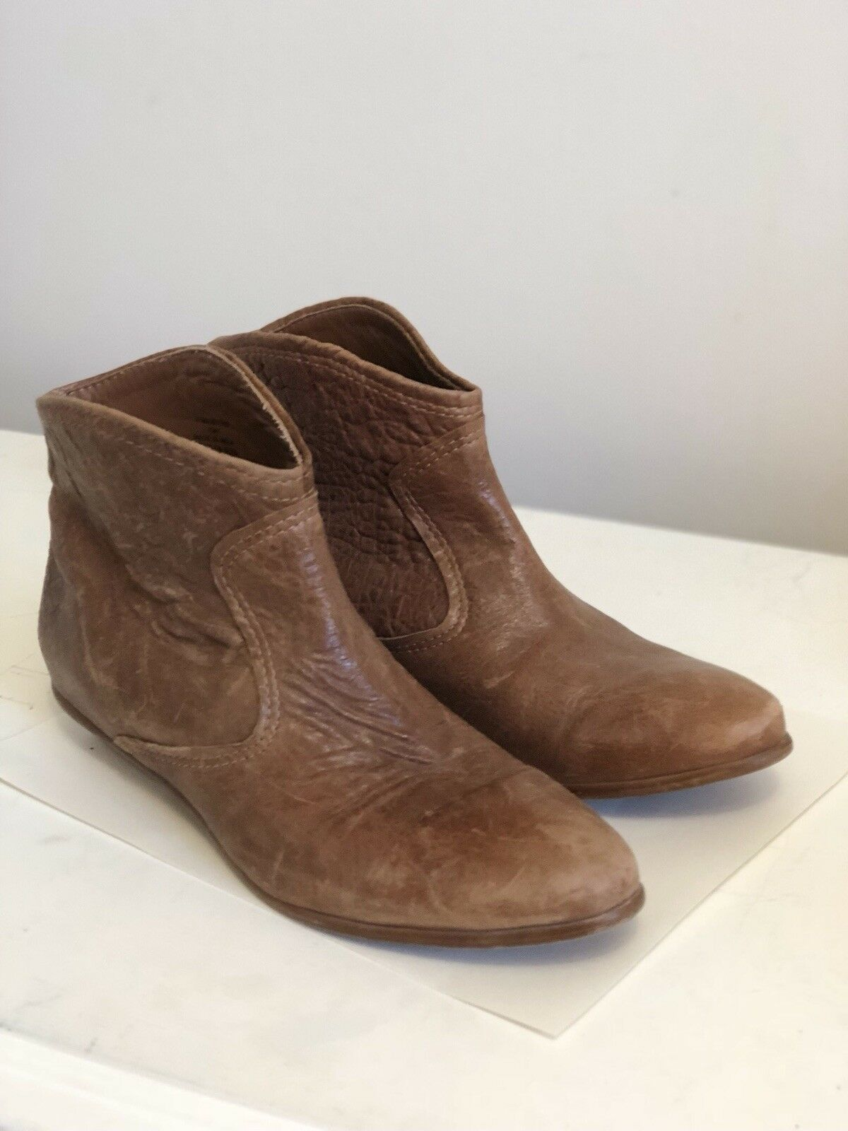 ZARA Cowboy Ankle Boots Western Leather Cognac Booties Size 40